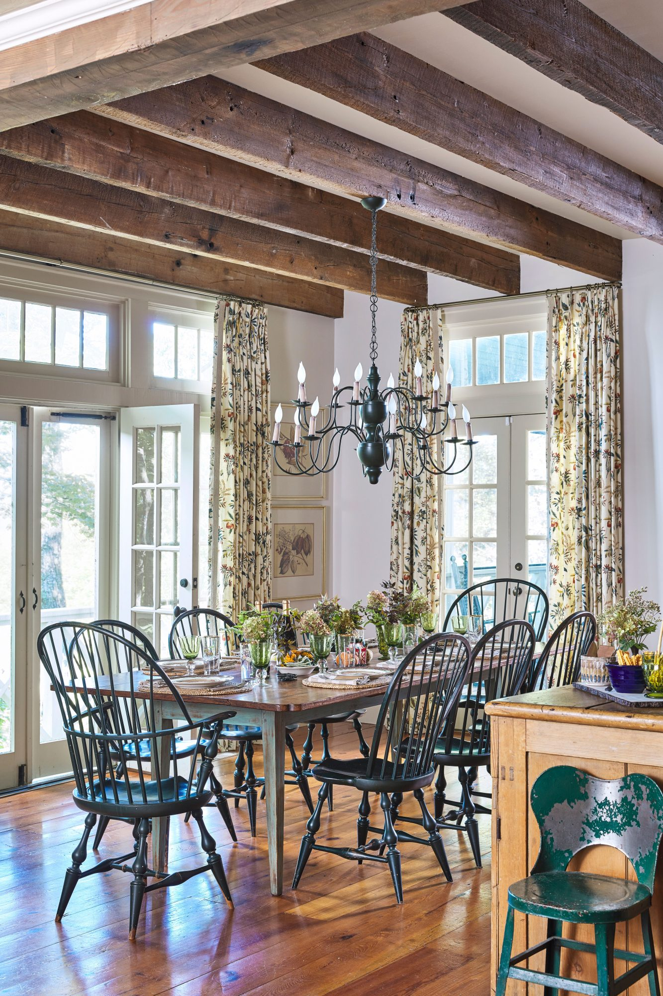 Mountain House Kitchen with Exposed Beams, Large Chandelier