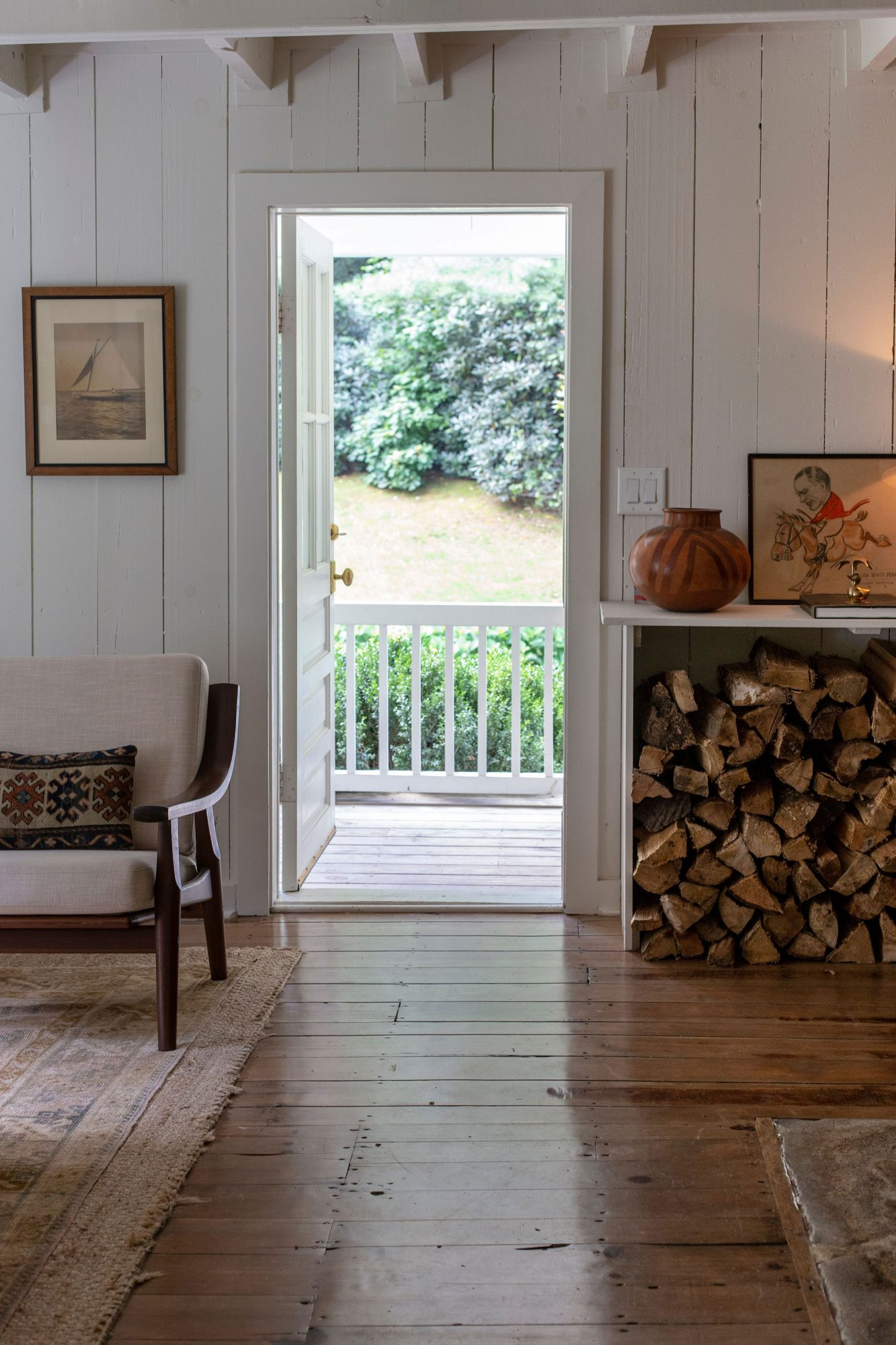 Mountain Cottage Entry with Chopped Wood