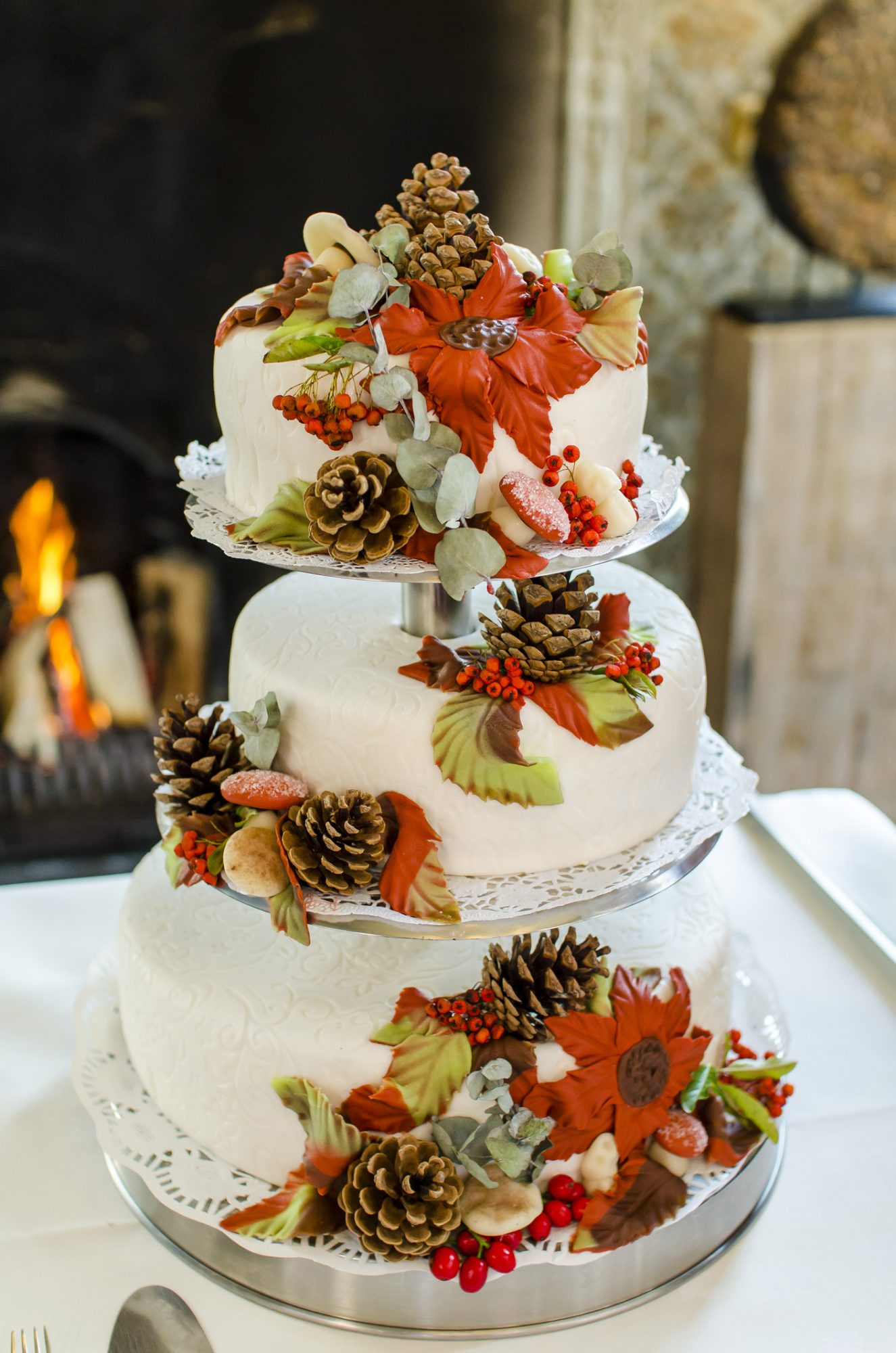 Wedding cake with marzipan and pine cones