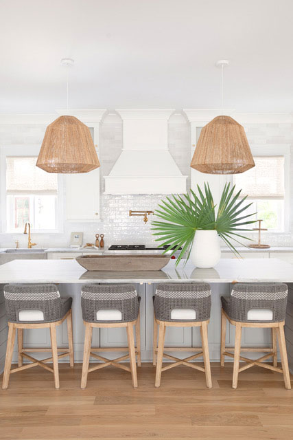 White Kitchen with Island and Four Barstools
