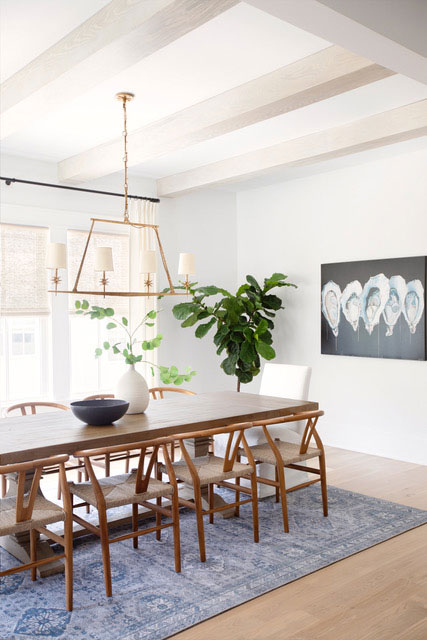 Dining Room with Large Rectangular Wood Table