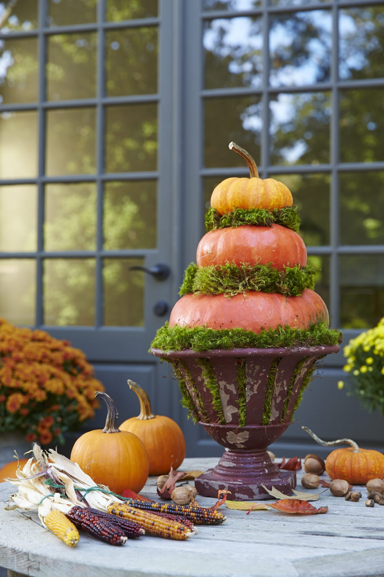 Pumpkin Topiary with Moss