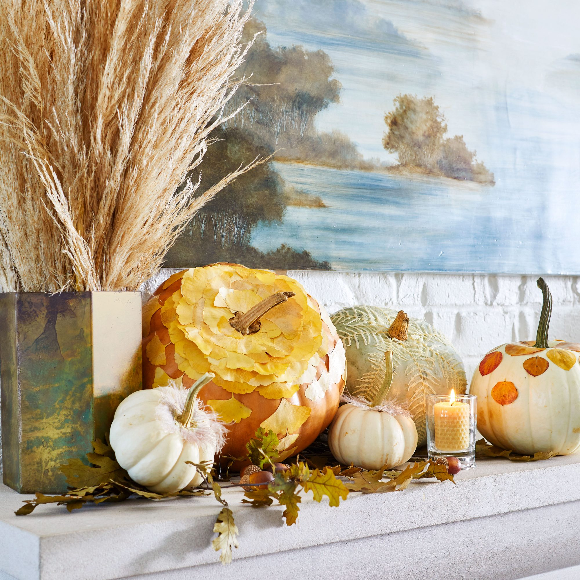 Dried Leaves and Floral Pumpkins