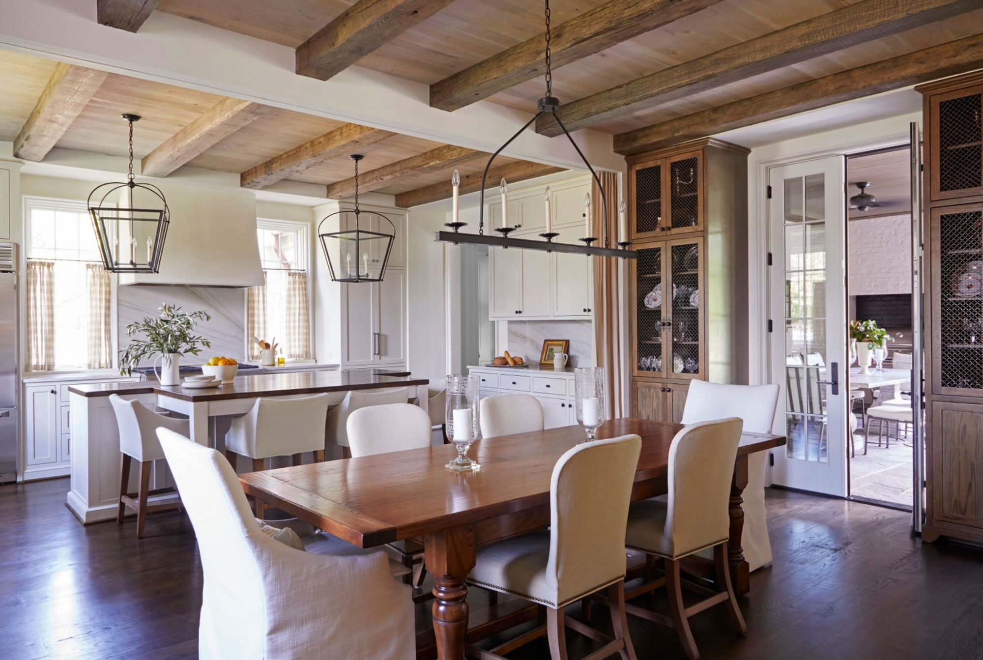 Open Kitchen with Dining Room Reclaimed Beamed Ceiling