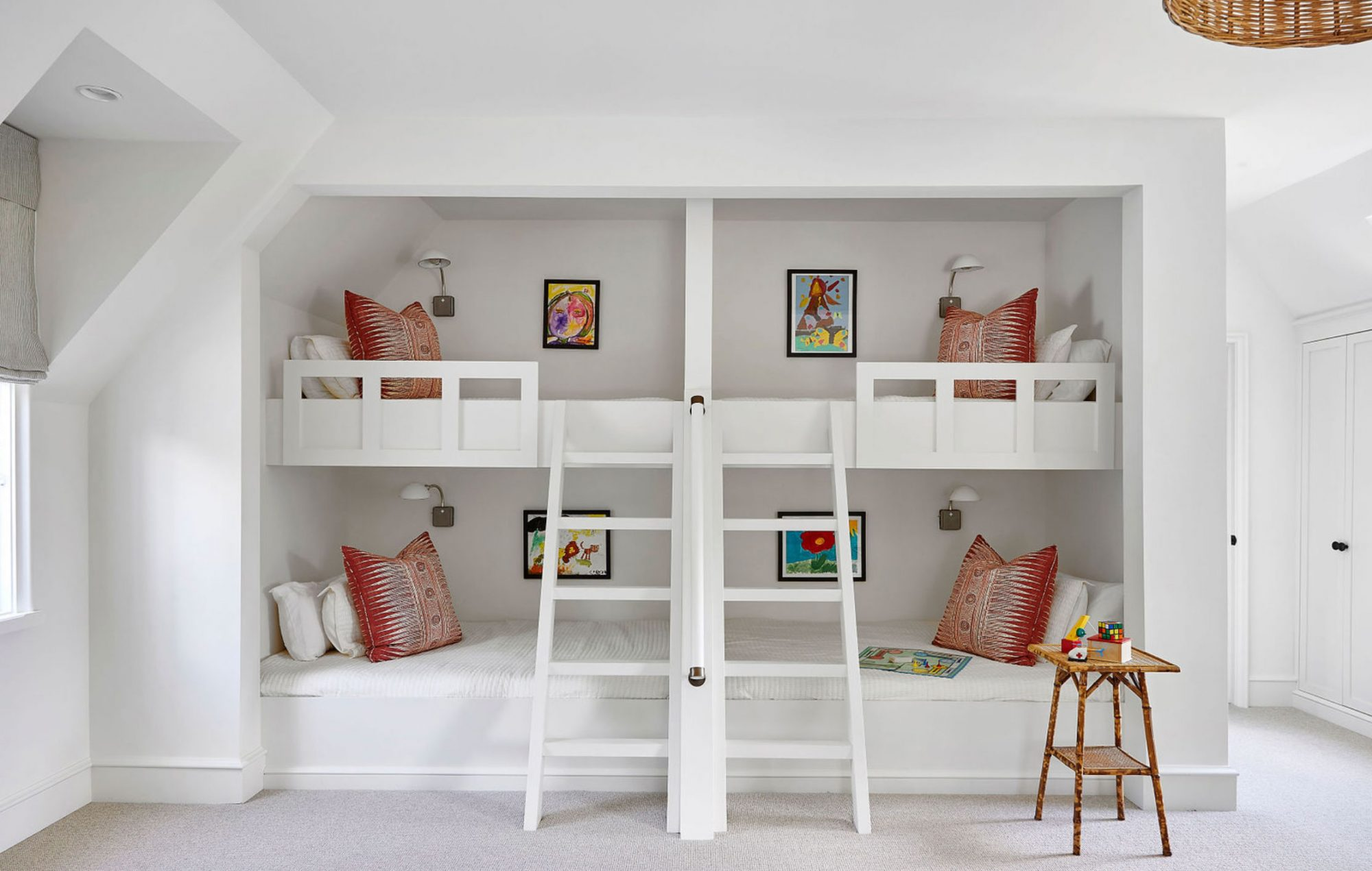 Four Bunkbeds with Ladders in Bunk Room