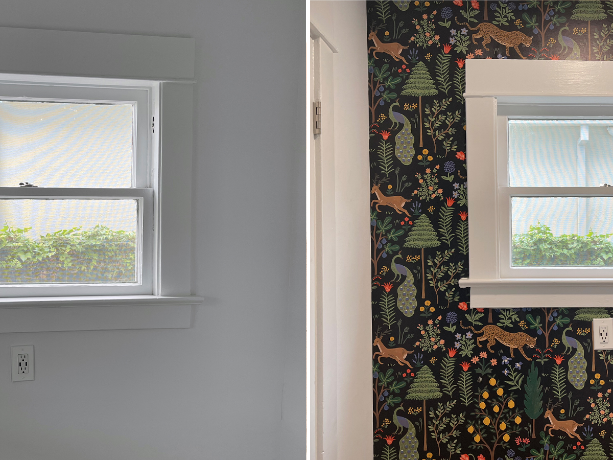 Before and After Peel and Stick Wallpaper