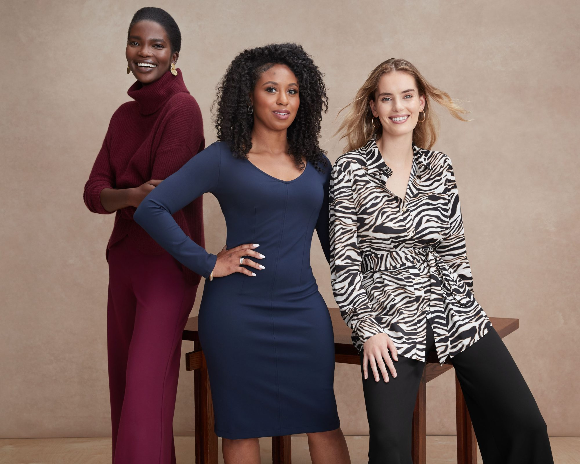 Stitch Fix Elevate grant winner Bettina Benson (center) with her new collection