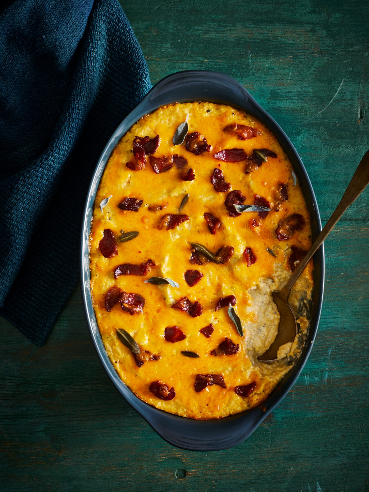 Cheesy Baked Grits with Blue Hokkaido Squash and Bacon