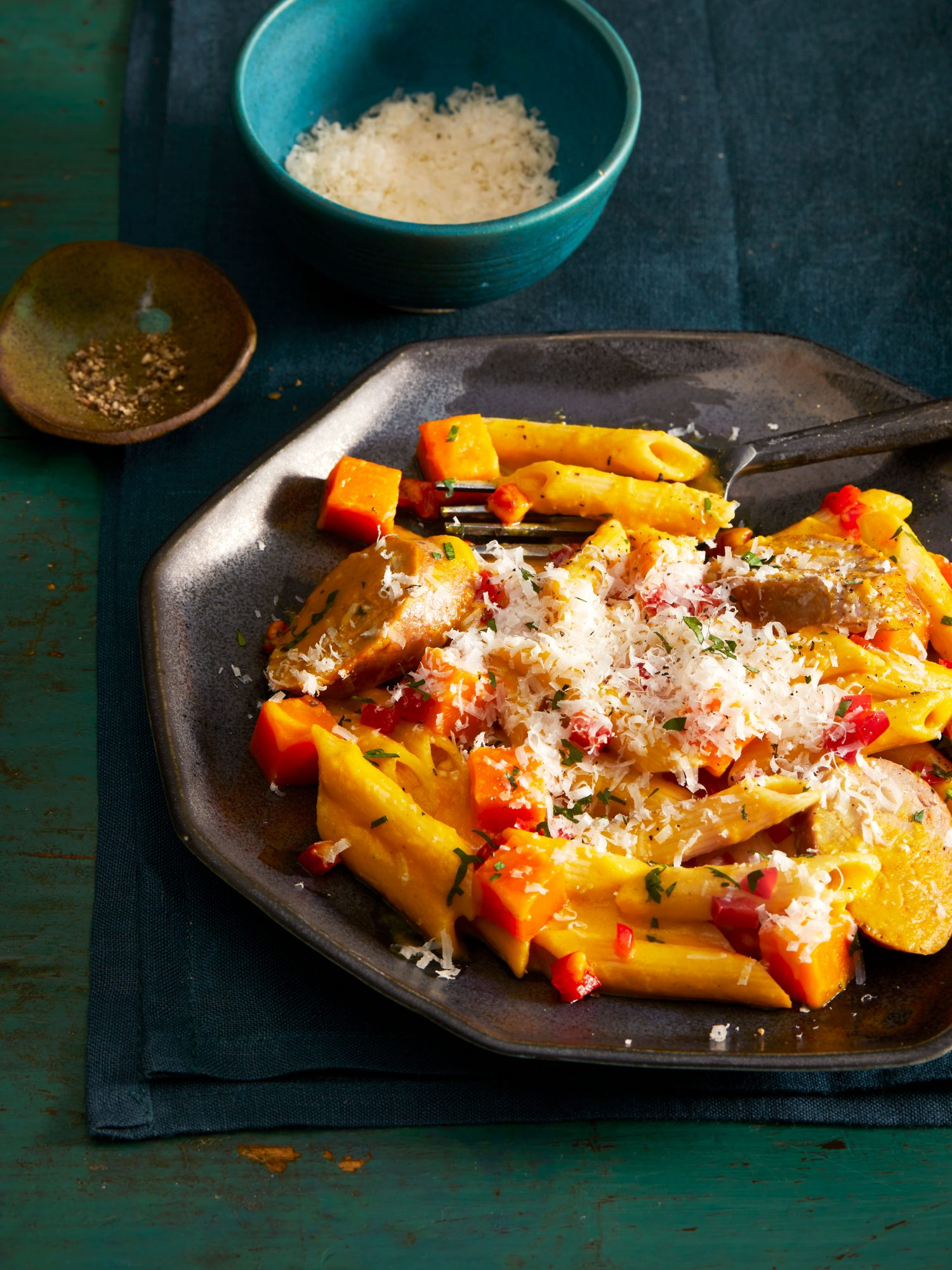 Penne with Squash and Italian Chicken Sausage