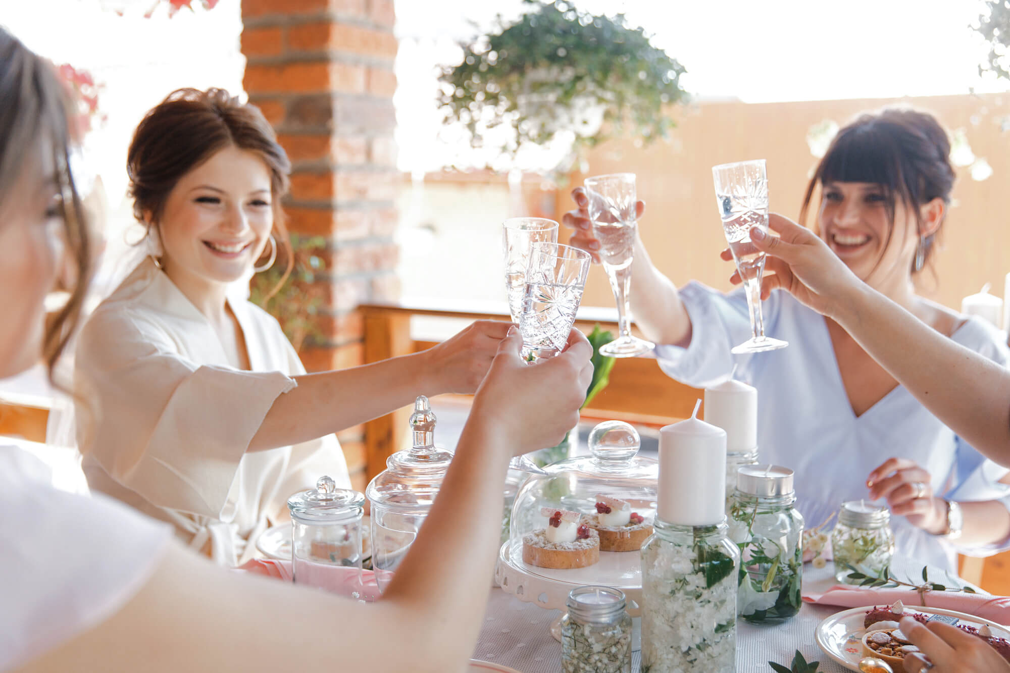 women toasting at brunch