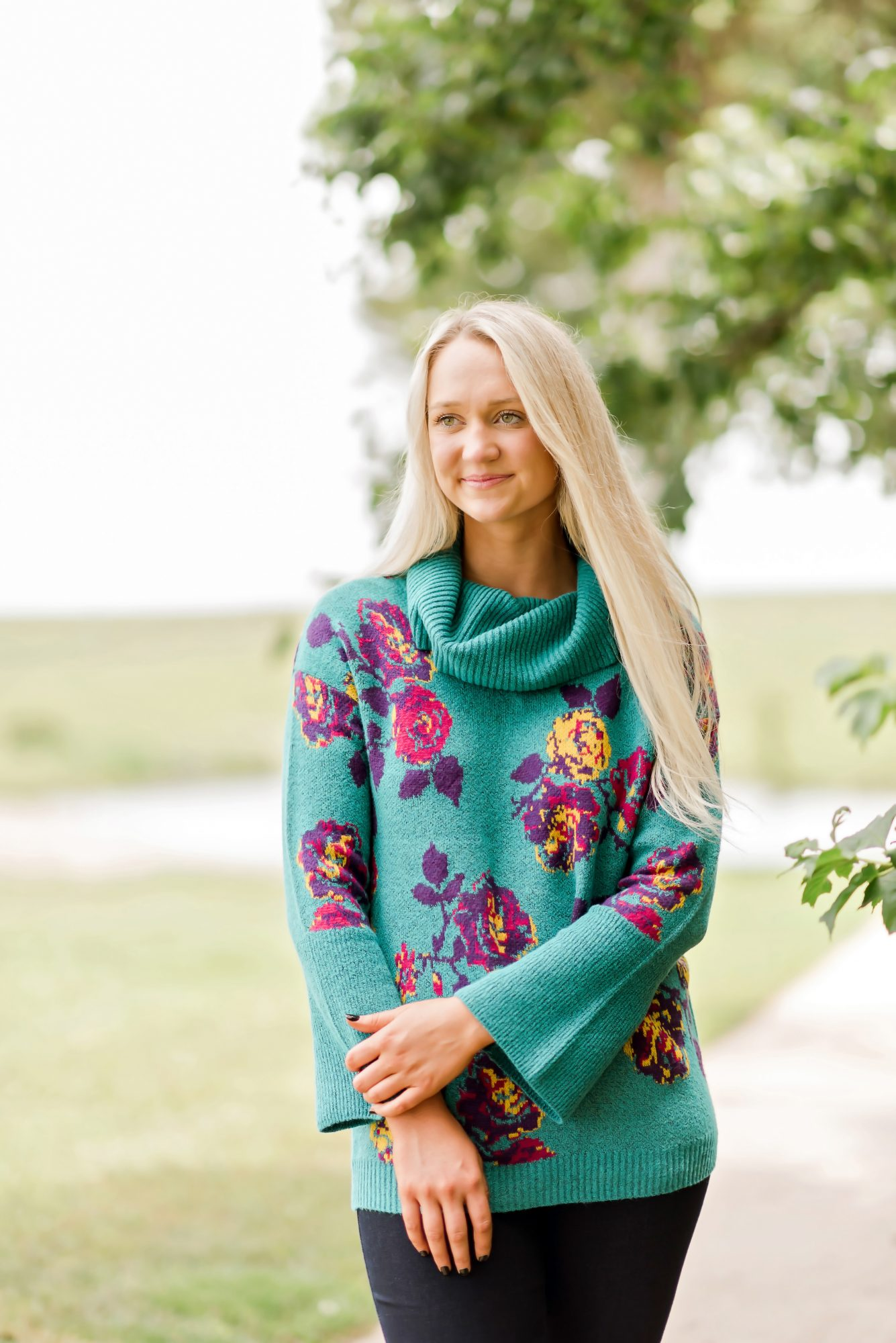 The Pioneer Woman Floral Jacquard Cowlneck Sweater