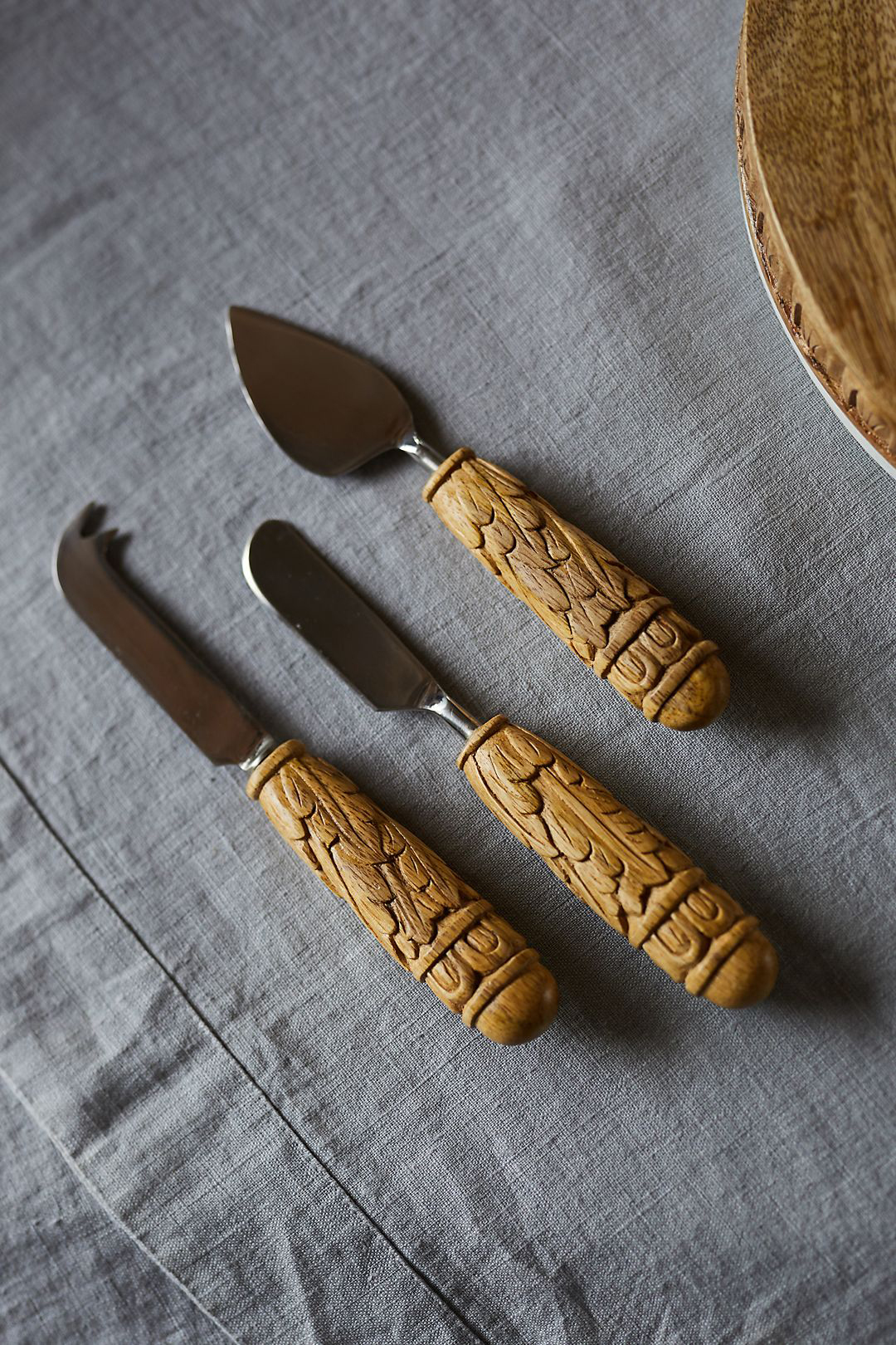 Carved Wood Cheese Knives