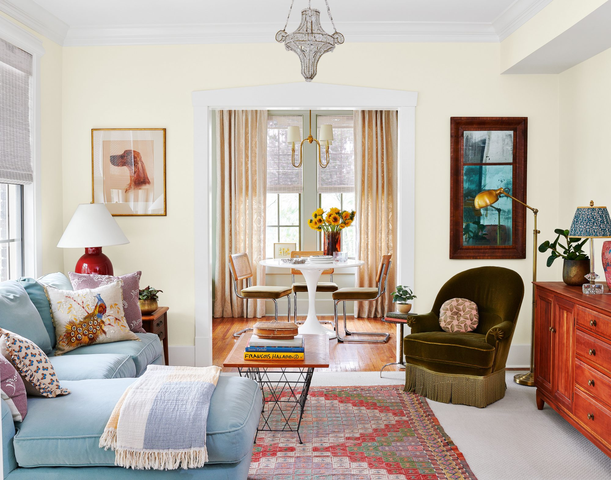 Jessica Stambaugh designed apartment living room with vintage accents