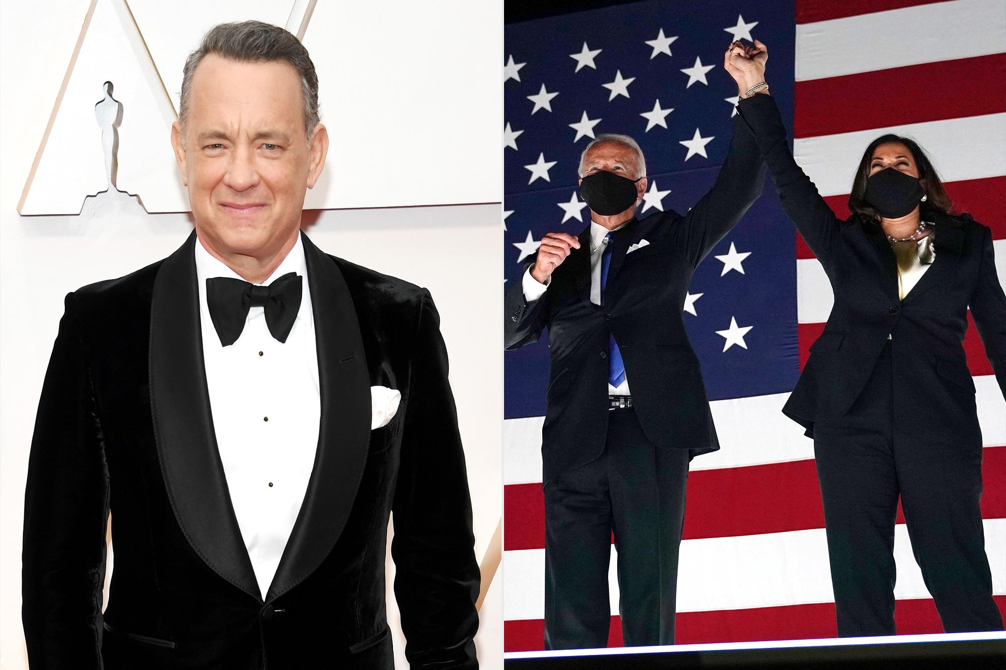 Tom Hanks, Joe Biden and Kamala Harris