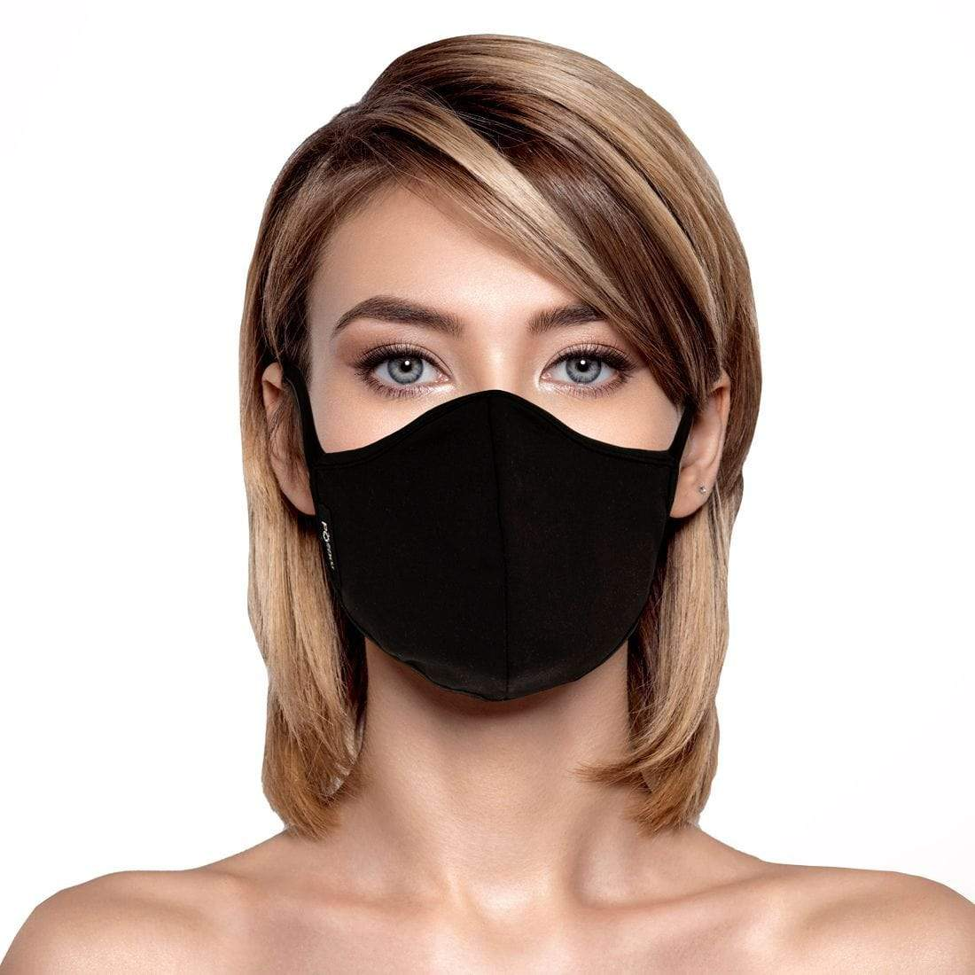 Masqd Ultra Soft Face Mask in Black on woman with blonde hair