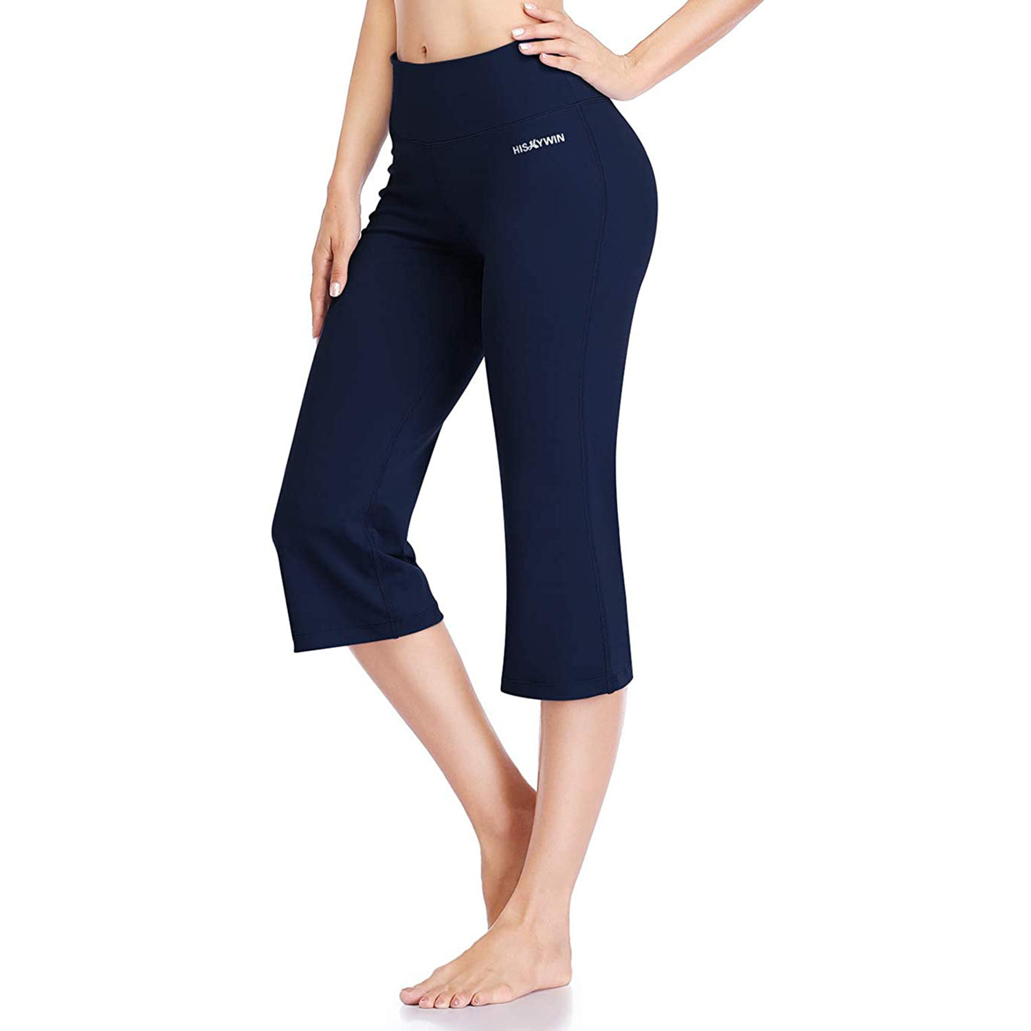 HISKYWIN Inner Pocket Yoga Pants 4 Way Stretch Tummy Control Workout Running Pants