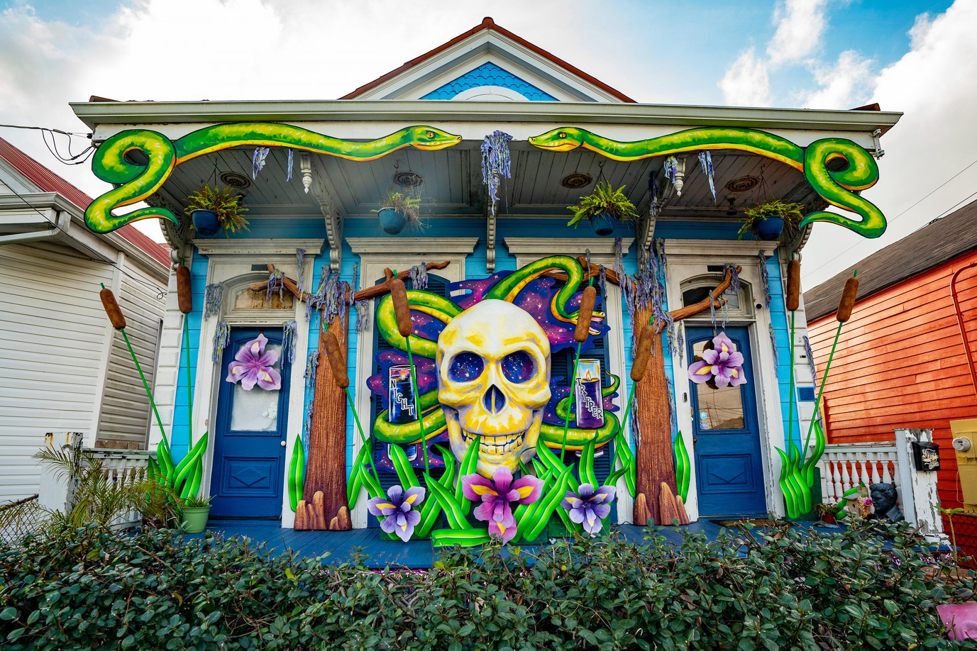 "Mardi Gras ""float"" decorations on a home in New Orleans"