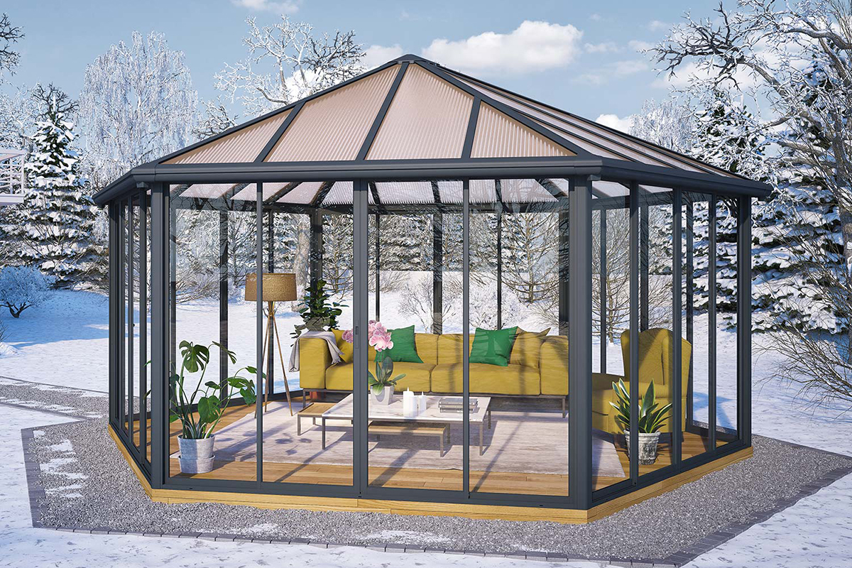 Palram HG9185 Garda 19.5' x 17' Closed Garden Gazebo