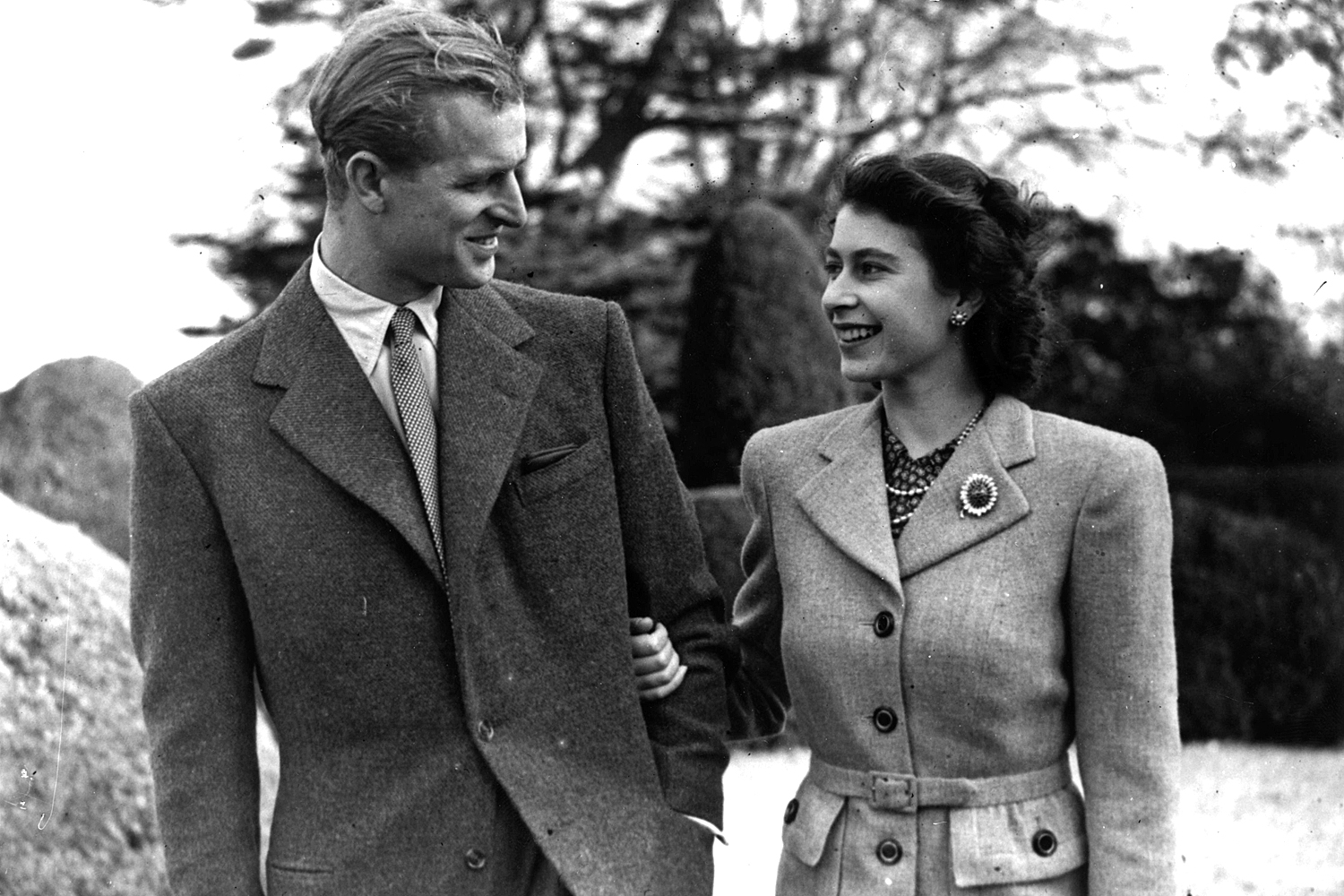 Princess Elizabeth and The Prince Philip, Duke of Edinburgh enjoying a walk during their honeymoon