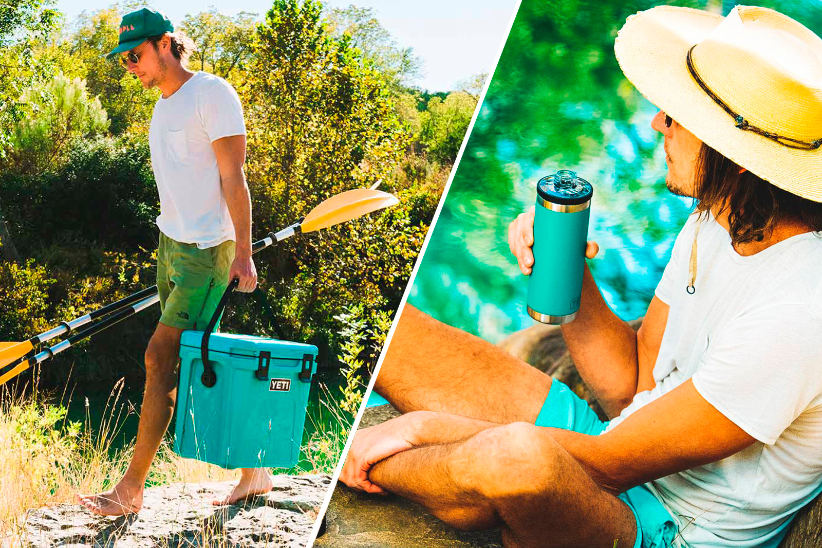 Yeti cooler and water bottle in aquifer blue