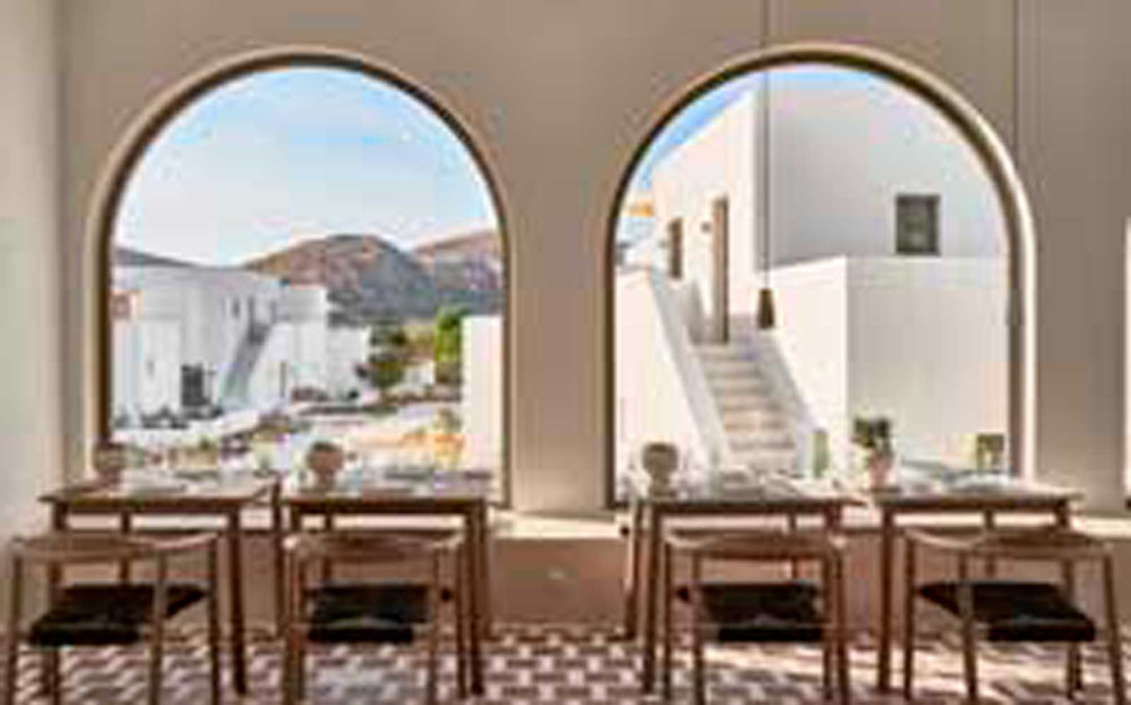 Looking out from Parilio hotel restaurant, Paros, Greece