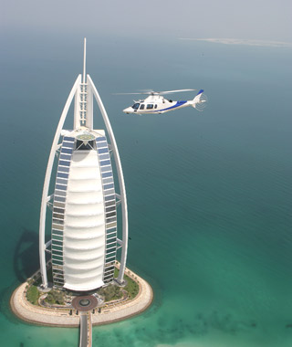 Helicopter from a skyscraper in Dubai (Seabourn)
