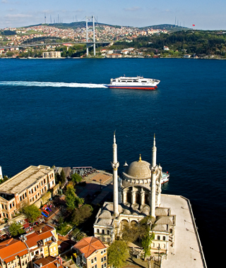 Turkey ferry along the Golden Horn in Istanbul
