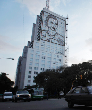 world's most controversial monuments:Don Quixote Statue and Eva Peron Mural, Buenos Aires