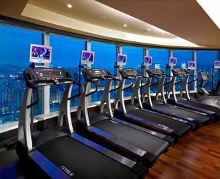 Best Hotel Gym Views: Langham Place, Hong Kong