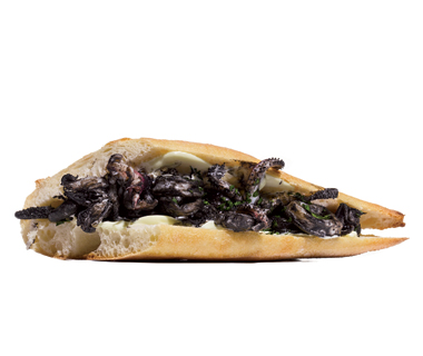 best sandwiches: Bocadillo de Calamares en Su Tinta (Squid in Its Own Ink with Aioli), Madrid
