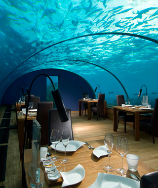 coolest underwater attractions: Ithaa Undersea Restaurant