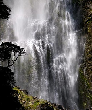 beautiful waterfalls: Devil's Punchbowl Falls, Athur's Pass, South Island, New Zealand