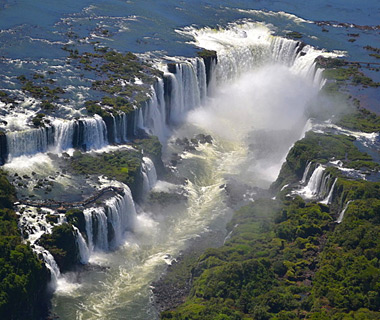 beautiful waterfalls: Iguazu Falls, Brazil and Argentina