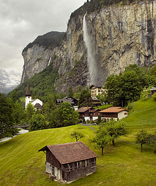 beautiful waterfalls: Jungfrau, Interlaken, Switzerland