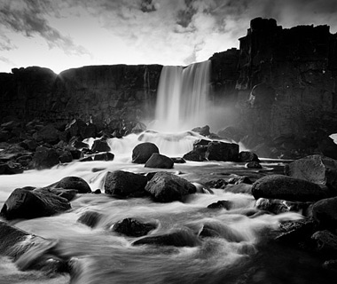 beautiful waterfalls: Oxararfoss, Iceland