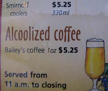 Funniest Menu Mistakes Around the World: spiked coffee