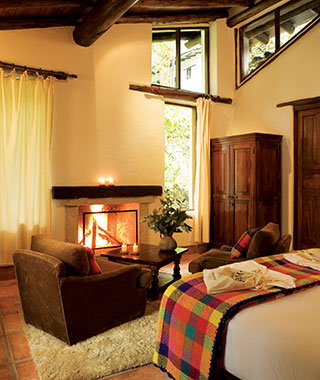 Most Romantic Hotel Fireplaces: Inkaterra Machu Picchu Pueblo Hotel, Peru