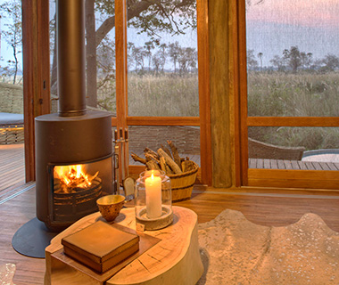 Most Romantic Hotel Fireplaces: &Beyond Okavango Safari Lodge, Botswana