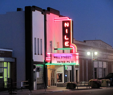 Cool Neon Signs: Nile Theater, Mitchell, NE