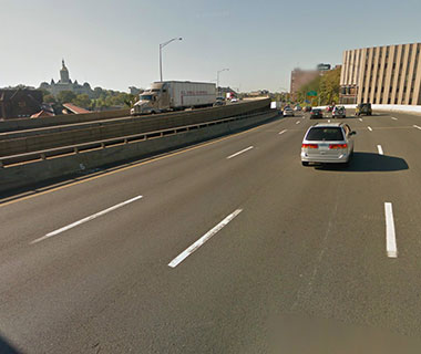 America's Most Dangerous Bridges: I-84 EB over Amtrak, parking, local roads (Aetna Viaduct)