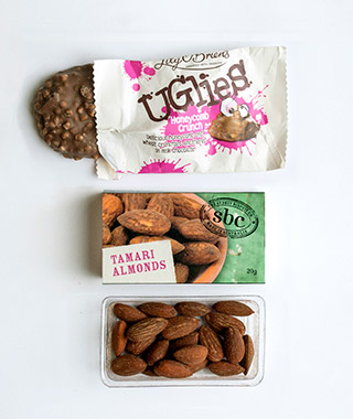 Airline Snacks: Tamari Almonds and Uglies, Qantas