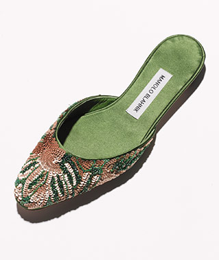 What to Wear on Your Honeymoon: Manolo Blahnik embellished mules
