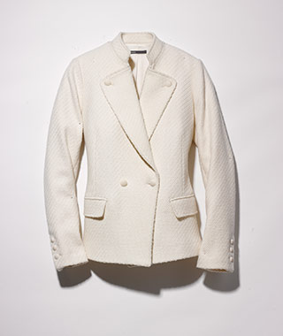 What to Wear on Your Honeymoon: Vince white bouclé blazer