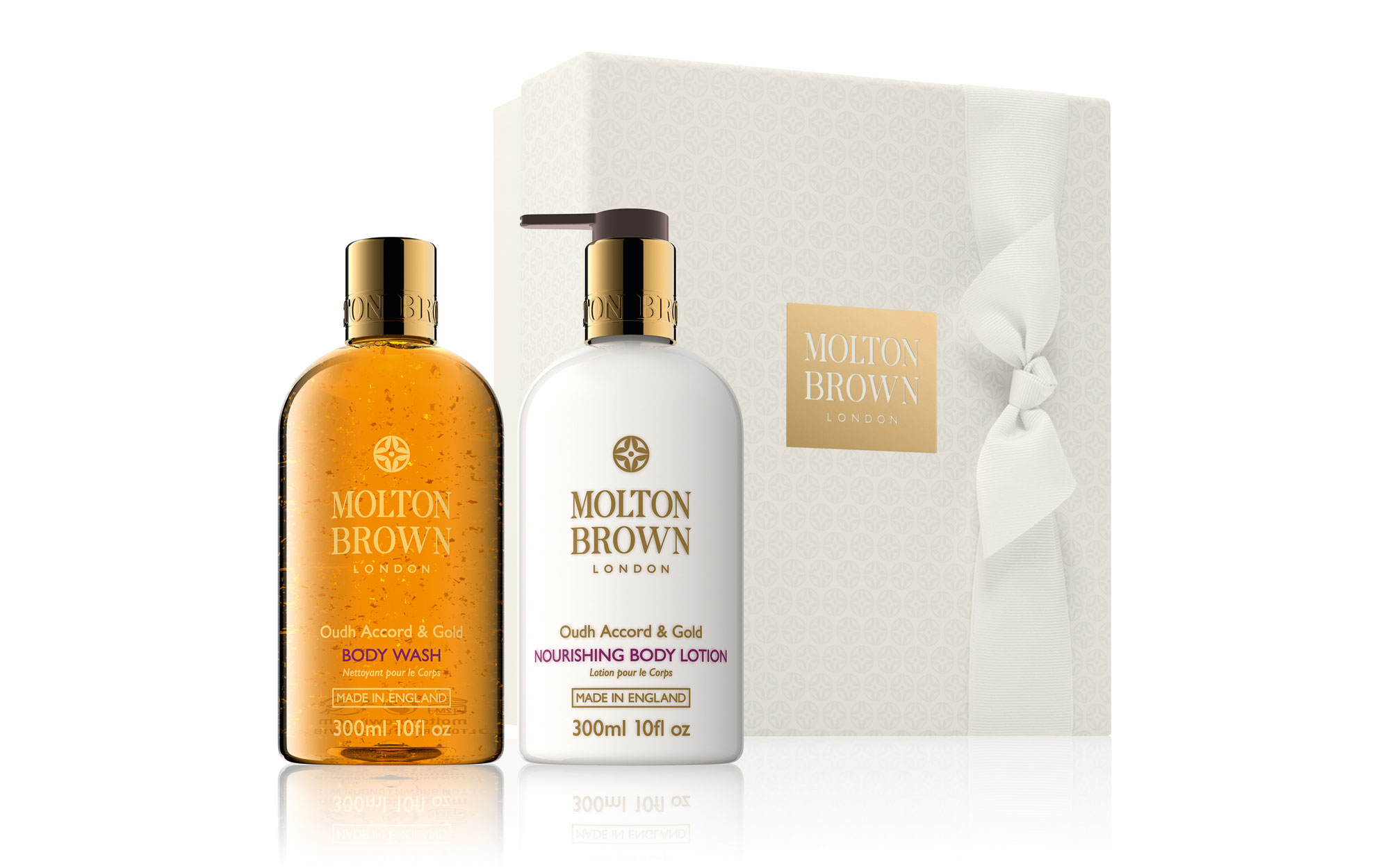 Best Beauty Gifts for Travelers: Molton Brown Oudh Accord & Gold Body Gift Set