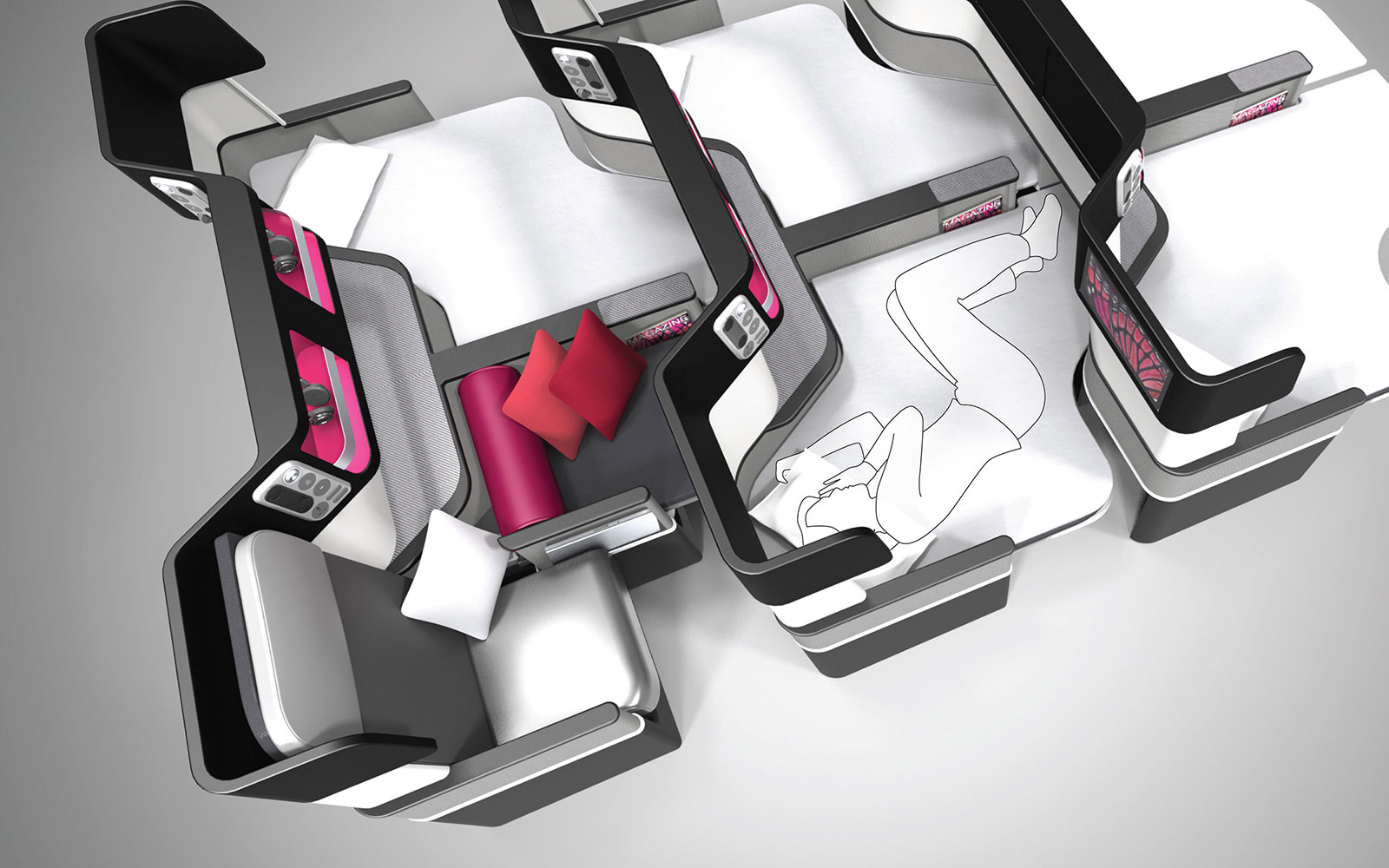 15 Craziest Airplane Cabins of the Future: Butterfly Seat Concept – by paperclipdesign