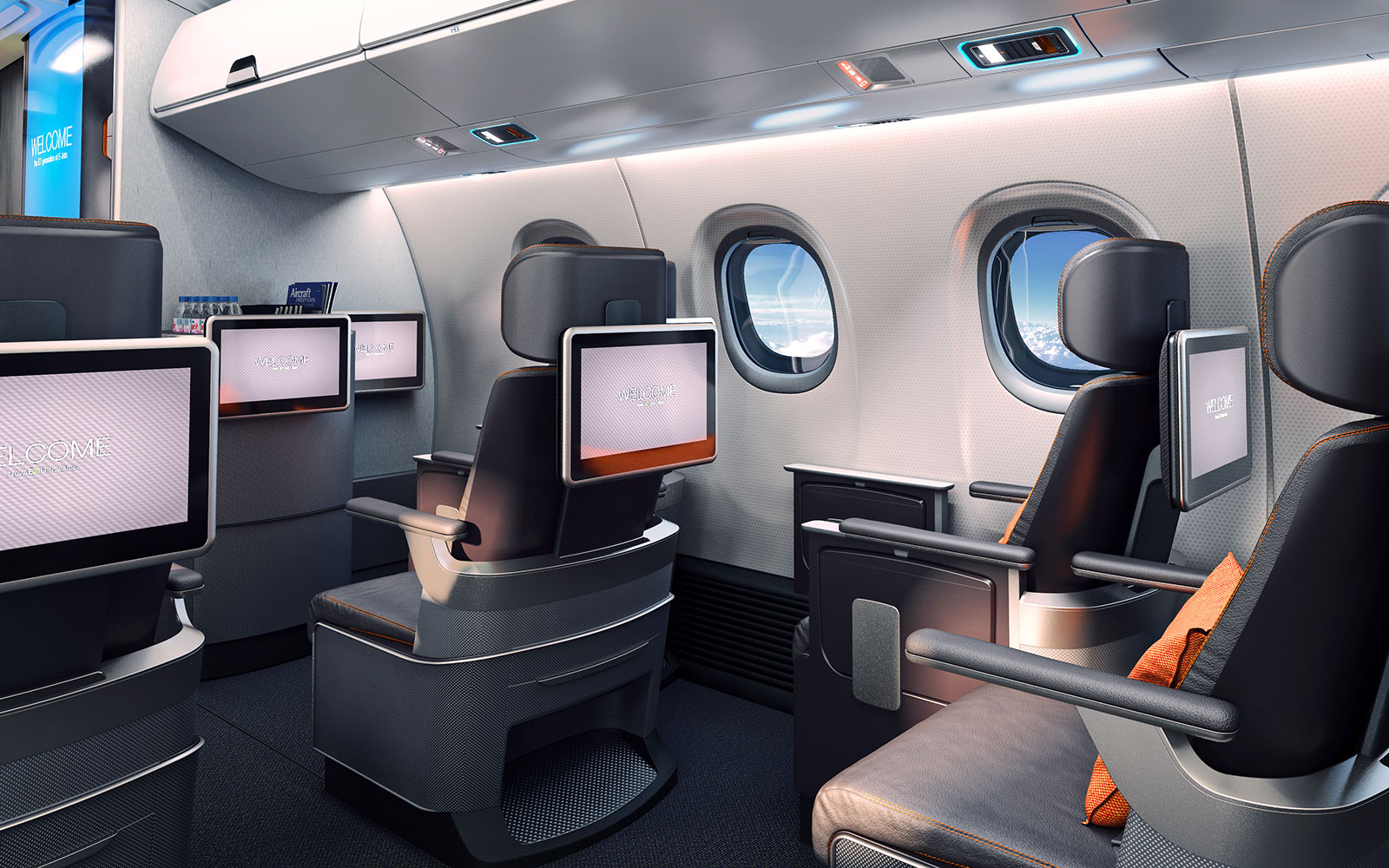 15 Craziest Airplane Cabins of the Future: Embraer E2 Project – by Priestmangoode