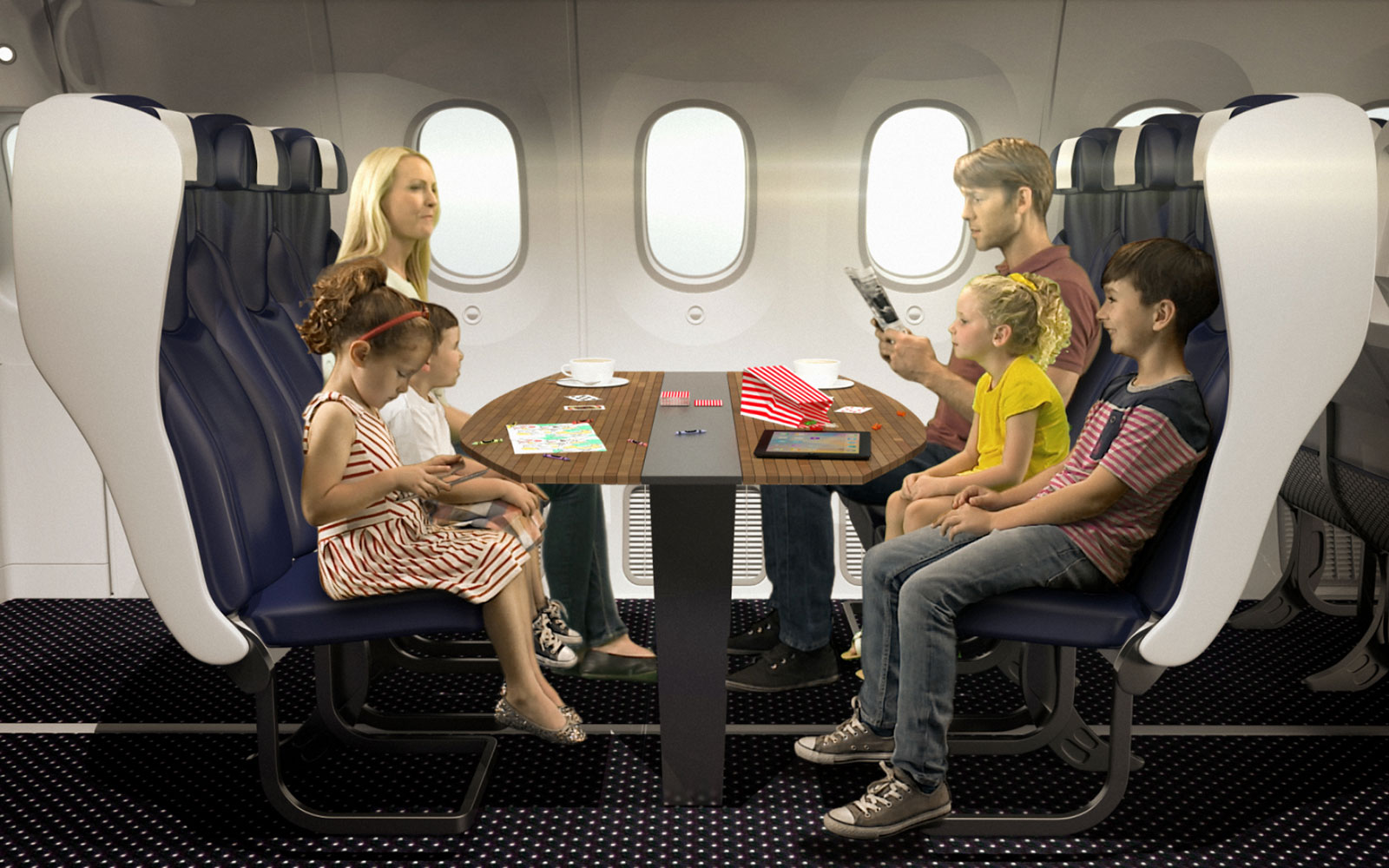 15 Craziest Airplane Cabins of the Future: Thomson's Family Seat