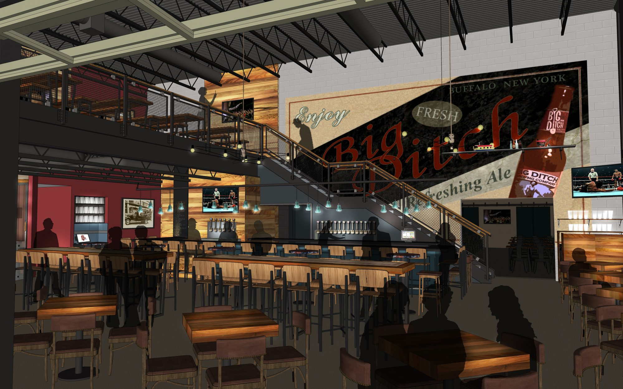 Rendering of Big Ditch Brewing Company's Tap Room