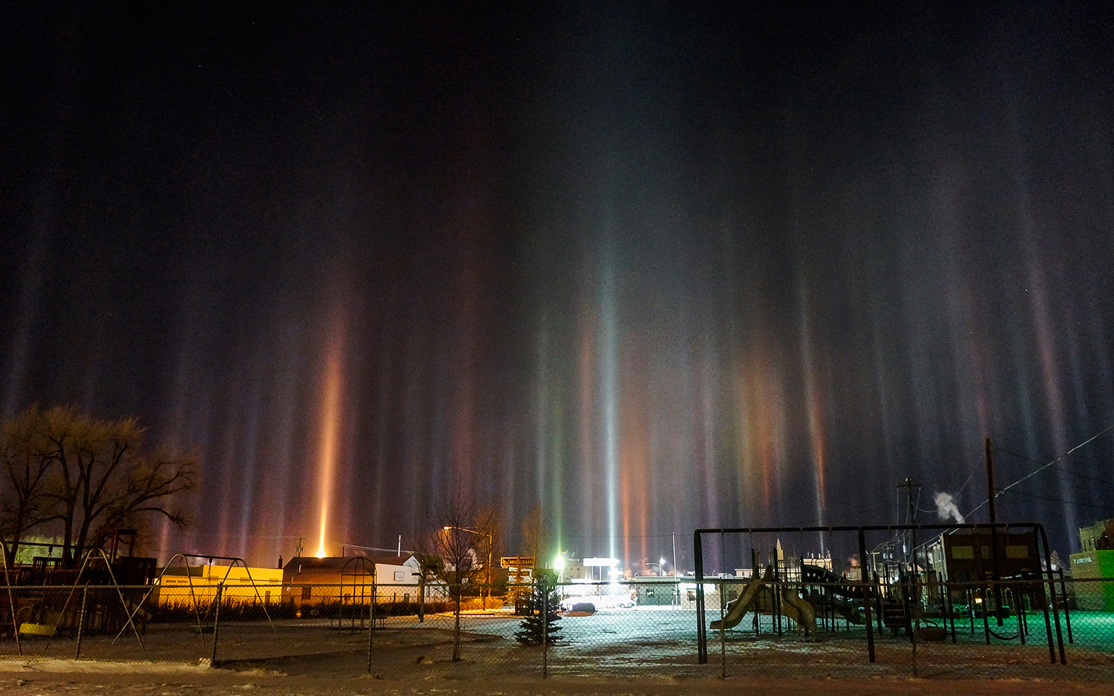 Nature's Spectacular Light Shows: Light Poles in very cold cities like Laramie, Wyoming