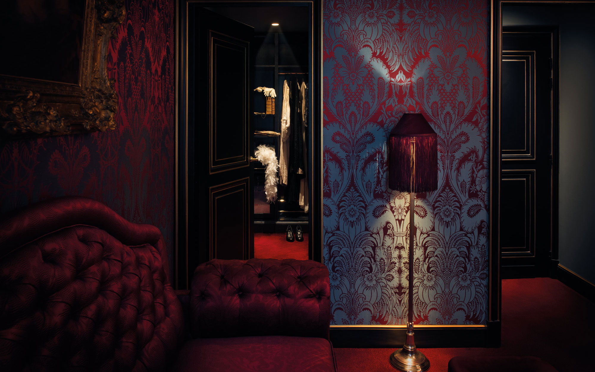 New to Paris: a Vampy Hotel With Design Steeped in Sex: Junior Suite walk-in closet